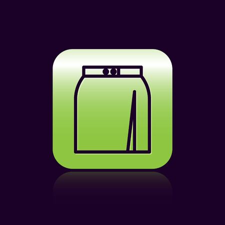 Black line Skirt icon isolated on black background. Green square button. Vector Illustration Ilustracja