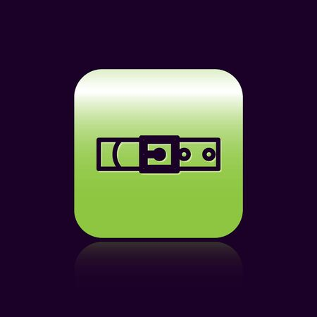 Black line Leather belt with buttoned steel buckle icon isolated on black background. Green square button. Vector Illustration