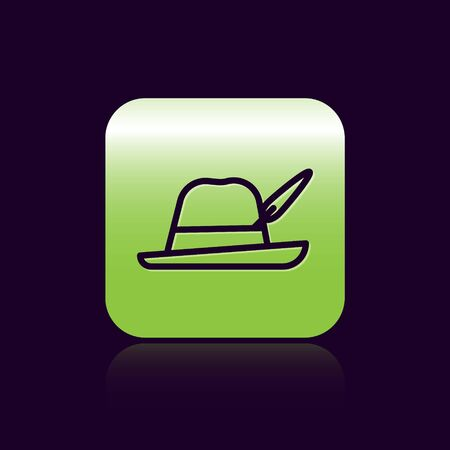 Black line Oktoberfest hat icon isolated on black background. Hunter hat with feather. German hat. Green square button. Vector Illustration 矢量图像