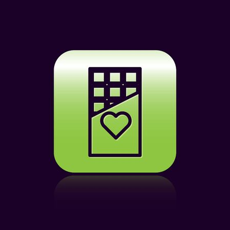 Black line Chocolate bar icon isolated on black background. Valentines day symbol. Green square button. Vector Illustration