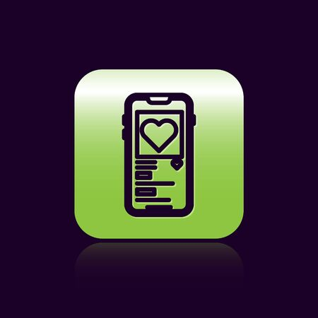 Black line Mobile phone with heart icon isolated on black background. Valentines day. Green square button. Vector Illustration