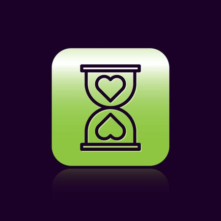 Black line Heart in the center old hourglass icon isolated on black background. Valentines day. Green square button. Vector Illustration 向量圖像
