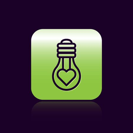 Black line Heart shape in a light bulb icon isolated on black background. Love symbol. Valentine day symbol. Green square button. Vector Illustration