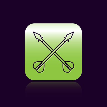 Black line Medieval crossed arrows icon isolated on black background. Medieval weapon. Green square button. Vector Illustration