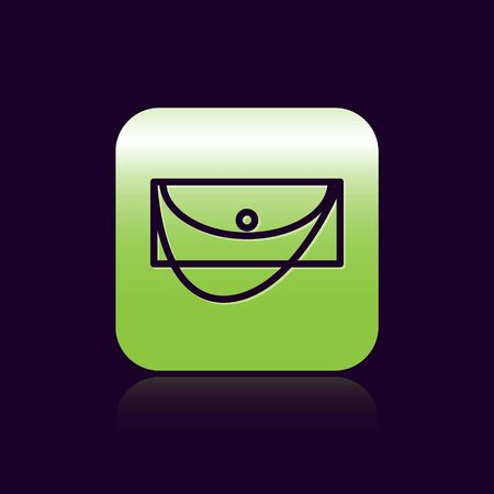 Black line Clutch bag icon isolated on black background. Women clutch purse. Green square button. Vector Illustration