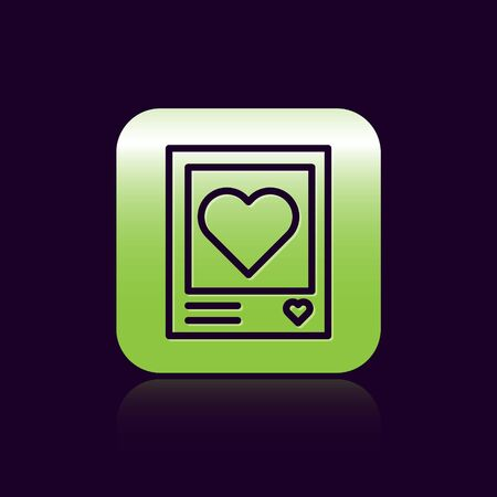 Black line Blanks photo frames and hearts icon isolated on black background. Valentines Day symbol. Green square button. Vector Illustration Çizim