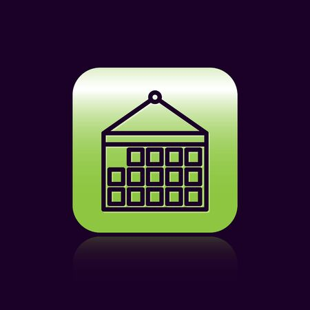 Black line Calendar icon isolated on black background. Event reminder symbol. Green square button. Vector Illustration