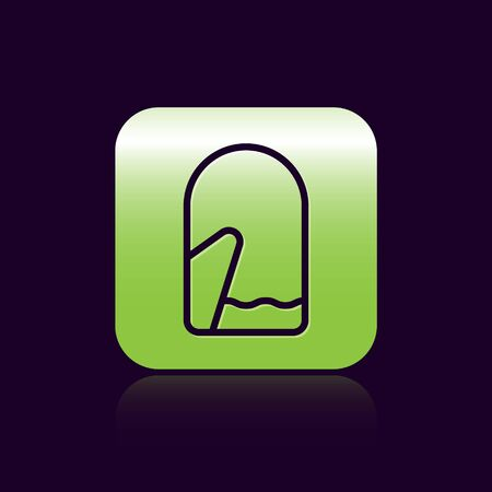 Black line Christmas mitten icon isolated on black background. Green square button. Vector Illustration Standard-Bild - 138474630