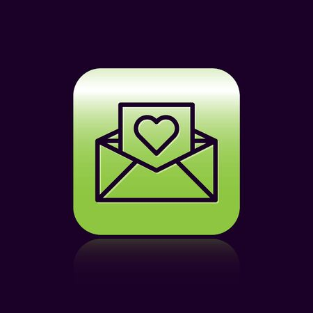 Black line Envelope with Valentine heart icon isolated on black background. Message love. Letter love and romance. Green square button. Vector Illustration Ilustracja