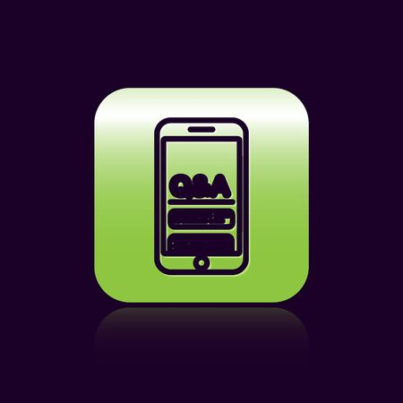 Black line Mobile phone with Question and Exclamation icon isolated on black background. Frequently asked questions. Green square button. Vector Illustration