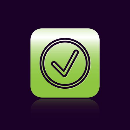 Black line Check mark in circle icon isolated on black background. Choice button sign. Checkmark symbol. Green square button. Vector Illustration