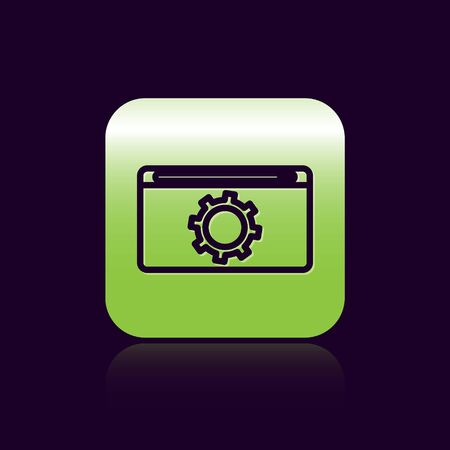 Black line Setting icon isolated on black background. Adjusting, service, maintenance, repair, fixing. Green square button. Vector Illustration