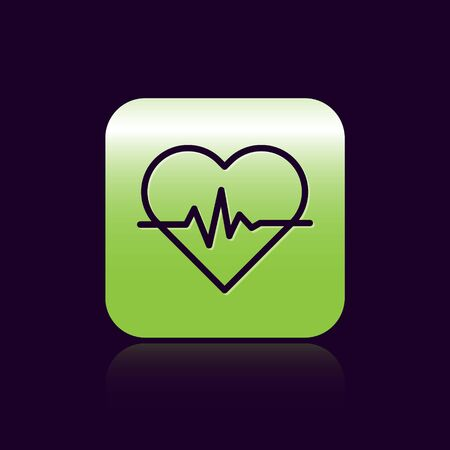 Black line Heart rate icon isolated on black background. Heartbeat sign. Heart pulse icon. Cardiogram icon. Green square button. Vector Illustration