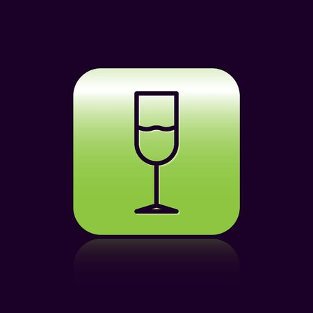 Black line Wine glass icon isolated on black background. Wineglass icon. Goblet symbol. Glassware sign. Green square button. Vector Illustration