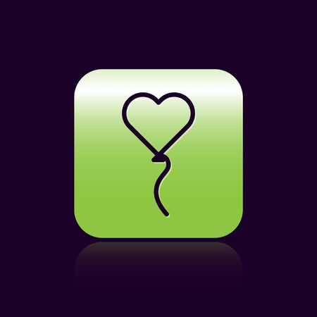 Black line Balloons in form of heart with ribbon icon isolated on black background. Valentines day symbol. Green square button. Vector Illustration Foto de archivo - 138475275