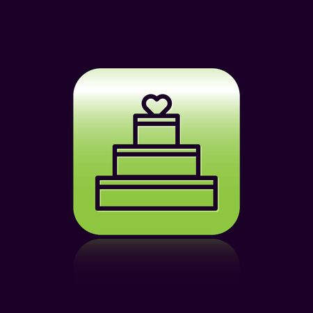 Black line Wedding cake with heart icon isolated on black background. Valentines day symbol. Green square button. Vector Illustration Illusztráció