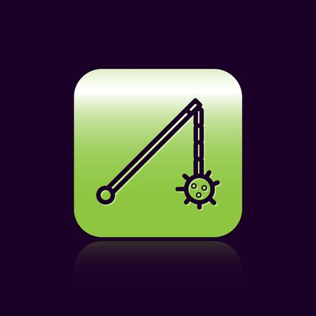 Black line Medieval chained mace ball icon isolated on black background. Medieval weapon. Green square button. Vector Illustration