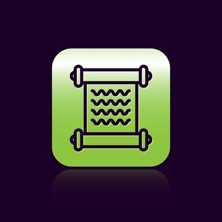 Black line Decree, paper, parchment, scroll icon icon isolated on black background. Green square button. Vector Illustration Ilustração