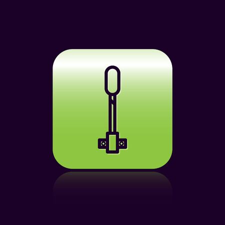 Black line Torch flame icon isolated on black background. Symbol fire hot, flame power, flaming and heat. Green square button. Vector Illustration