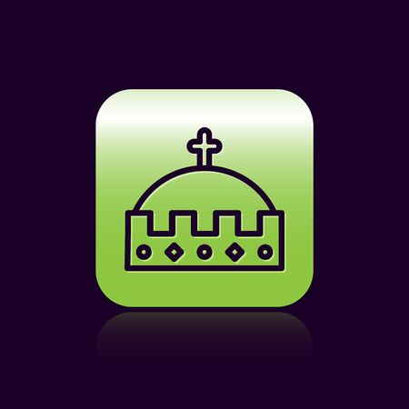 Black line King crown icon isolated on black background. Green square button. Vector Illustration
