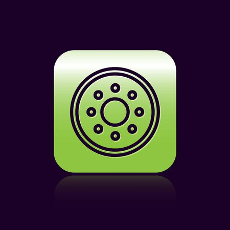 Black line Round wooden shield icon isolated on black background. Security, safety, protection, privacy, guard concept. Green square button. Vector Illustration