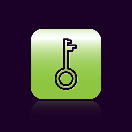 Black line Old key icon isolated on black background. Green square button. Vector Illustration