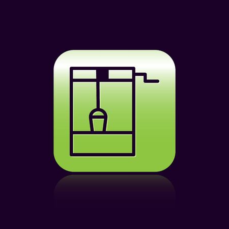 Black line Well with a bucket and drinking water icon isolated on black background. Green square button. Vector Illustration