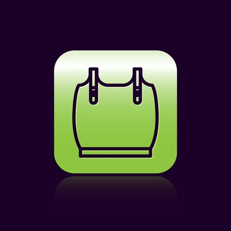 Black line Body armor icon isolated on black background. Green square button. Vector Illustration