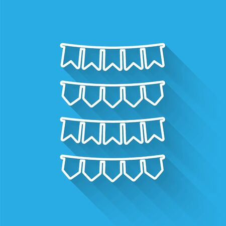 White line Carnival garland with flags icon isolated with long shadow. Party pennants for birthday celebration, festival and fair decoration. Vector Illustration