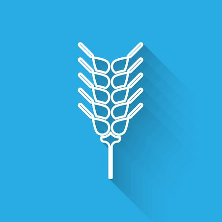 White line Cereals set with rice, wheat, corn, oats, rye, barley icon isolated with long shadow. Ears of wheat bread symbols. Vector Illustration  イラスト・ベクター素材