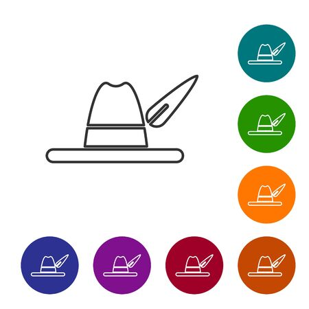 Grey line Oktoberfest hat icon isolated on white background. Hunter hat with feather. German hat. Set icons in color circle buttons. Vector Illustration