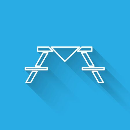 White line Picnic table with benches on either side of the table icon isolated with long shadow.  Vector Illustration