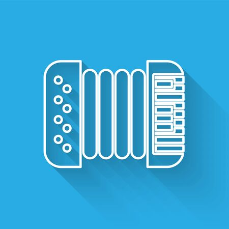 White line Musical instrument accordion icon isolated with long shadow. Classical bayan, harmonic.  Vector Illustration
