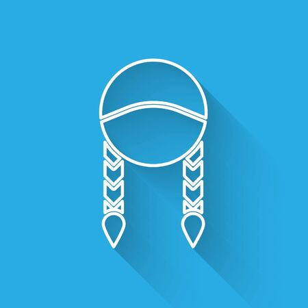 White line Braid icon isolated with long shadow. Vector Illustration