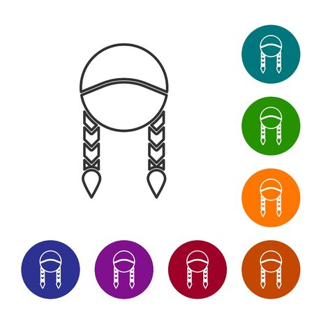 Grey line Braid icon isolated on white background. Set icons in color circle buttons. Vector Illustration Ilustração