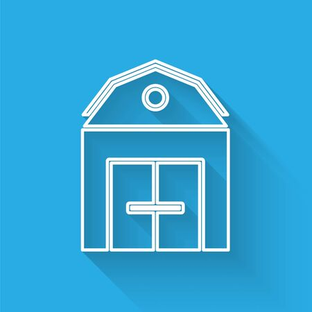 White line Farm House concept icon isolated with long shadow. Rustic farm landscape.  Vector Illustration 矢量图像