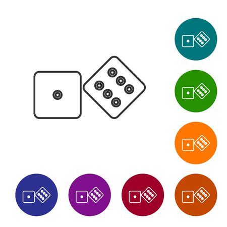 Grey line Game dice icon isolated on white background. Casino gambling. Set icons in color circle buttons. Vector Illustration