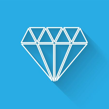 White line Diamond icon isolated with long shadow. Jewelry symbol. Gem stone. Vector Illustration