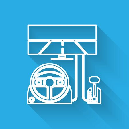White line Racing simulator cockpit icon isolated with long shadow. Gaming accessory. Gadget for driving simulation game. Vector Illustration