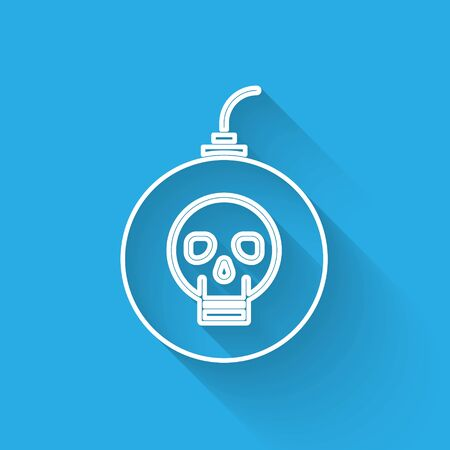 White line Bomb ready to explode icon isolated with long shadow. Happy Halloween party. Vector Illustration Illustration