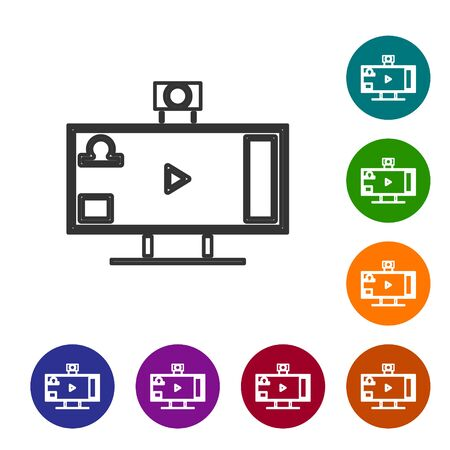 Grey line Live streaming online videogame play icon isolated on white background. Set icons in color circle buttons. Vector Illustration Archivio Fotografico - 138502072