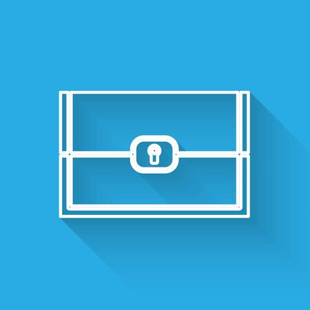 White line Chest for game icon isolated with long shadow. Vector Illustration Illustration