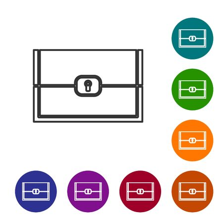 Grey line Chest for game icon isolated on white background. Set icons in color circle buttons. Vector Illustration