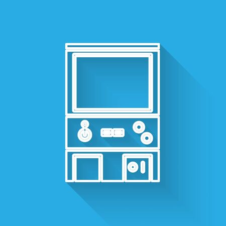 White line Retro arcade game machine icon isolated with long shadow. Vector Illustration