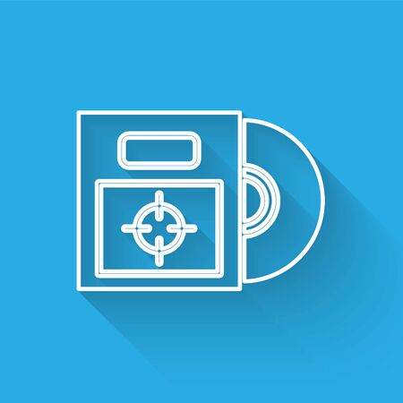 White line CD or DVD disk in box icon isolated with long shadow. Compact disc sign. Vector Illustration