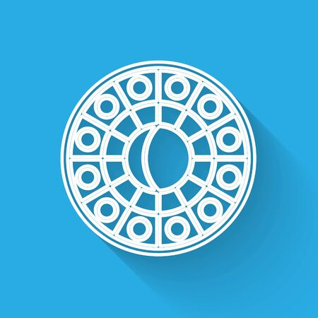 White line Astrology horoscope circle with zodiac icon isolated with long shadow. Vector Illustration