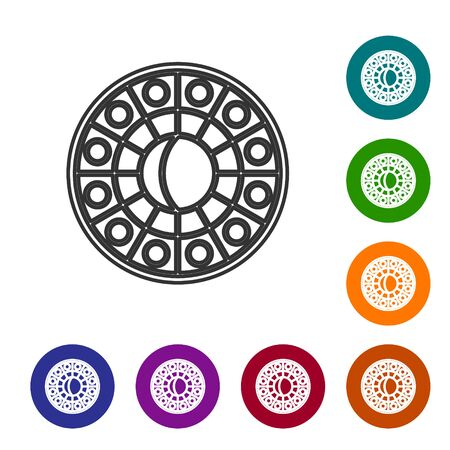 Grey line Astrology horoscope circle with zodiac icon isolated on white background. Set icons in color circle buttons. Vector Illustration