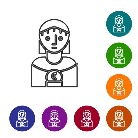 Grey line Astrology woman icon isolated on white background. Set icons in color circle buttons. Vector Illustration