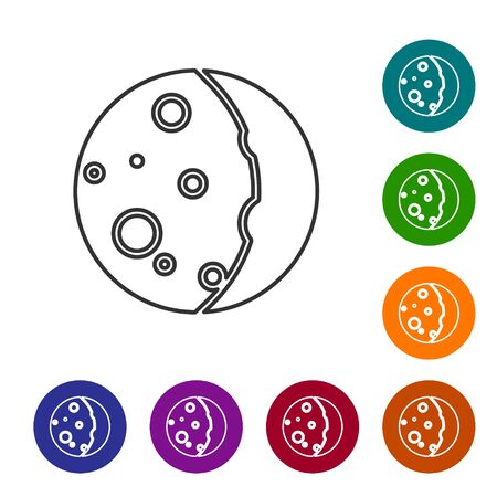 Grey line Eclipse of the sun icon isolated on white background. Total sonar eclipse. Set icons in color circle buttons. Vector Illustration