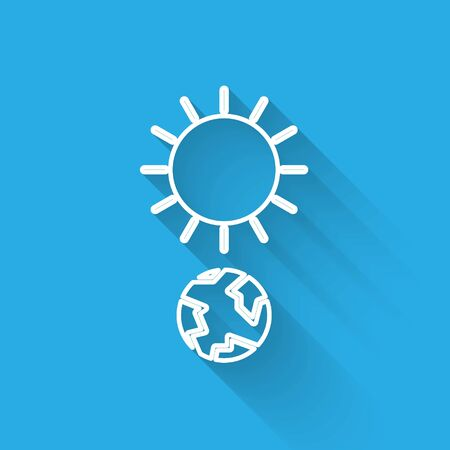 White line Solstice icon isolated with long shadow. Vector Illustration Illustration